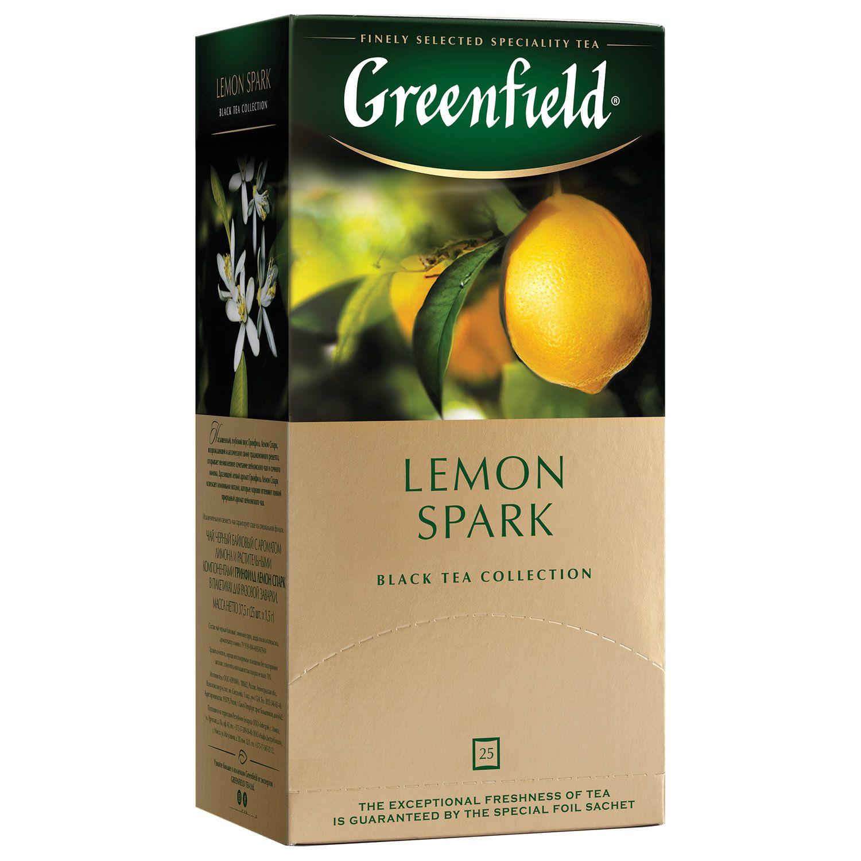 "GREENFIELD / Tea ""Lemon Spark"" black with lemon flavor, 25 teabags in envelopes of 2 g"