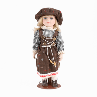 Porcelain doll Little lady in a brown sundress