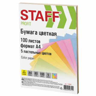 "Colored paper STAFF ""Profit"", A4, 80 g / m2, 100 sheets (5 colors), pastel, for office and home"