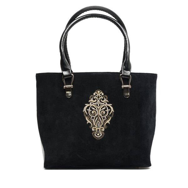 Bag in eco-leather Fantasy black with silver embroidery