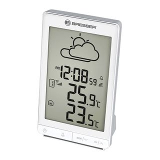 Meteorological station BRESSER TemeoTrend STX, temperature sensor, clock, alarm clock, white