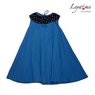 Dress - trapeze blue with a polka dot collar