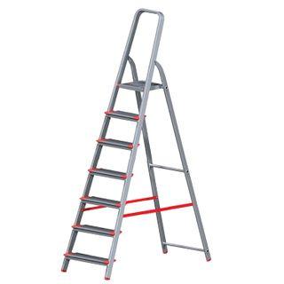 NEW HEIGHT / Aluminum step ladder 7 WIDE STEPS 13 cm, platform 1.5 m, load 150 kg, weight 6.8 kg