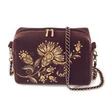 Velvet bag 'Portobello' brown with gold embroidery