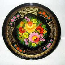 "Metal tray round ""Flowers. Unique plot"" 320 mm - exclusive painting on metal"