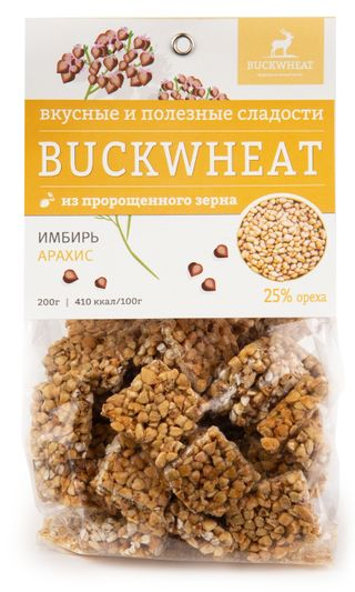 Buckwheat / Confectionery with peanuts and ginger, 200g, 8 pcs.