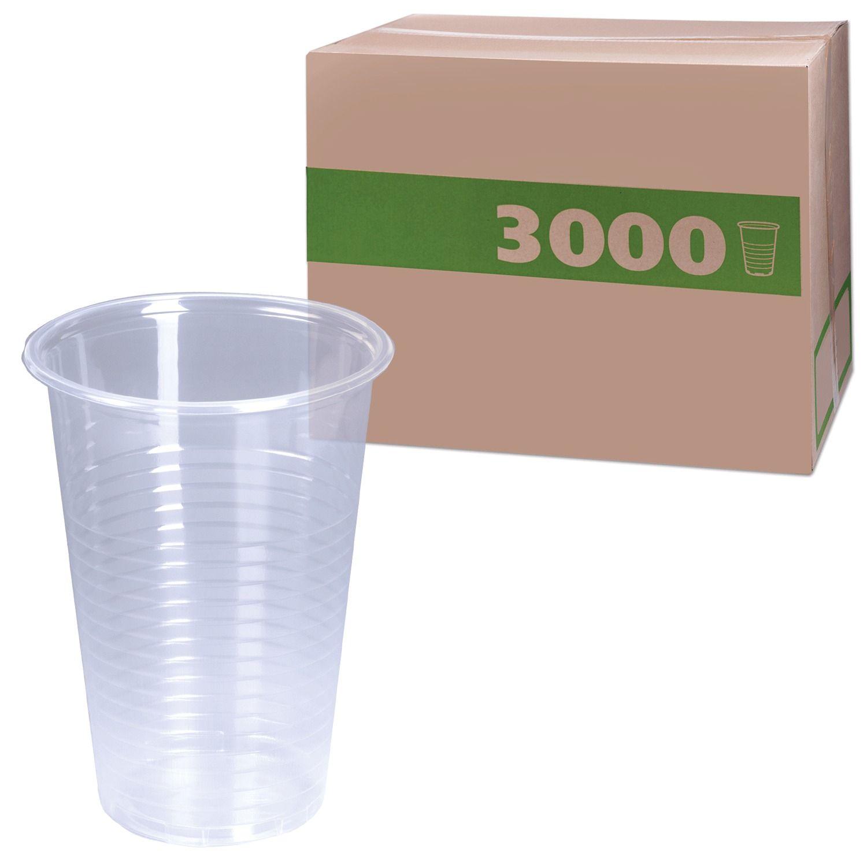 Disposable cups 200 ml, SET 3000 pcs. (30 packs of 100 pcs.), Transparent, PP, cold / hot