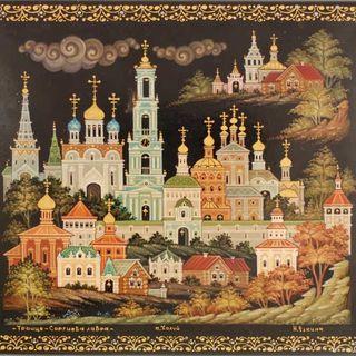 Kholui art lacquer miniature of the Trinity-Sergius Lavra