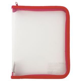 Folder for notebooks A5 PYTHAGORAS, plastic, lightning round, transparent, red