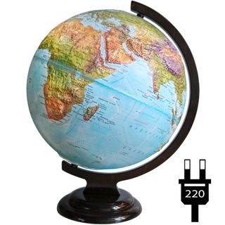 Geographical relief globe with a diameter of 320 mm on a wooden stand with backlight
