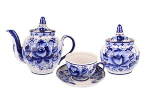 Dulevo porcelain / Tea set 14 pcs. Garnet Gold