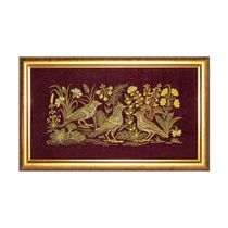 Panel 'Larks' Burgundy with gold embroidery