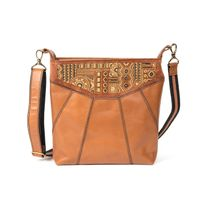 Leather bag 'Manista' brown with gold embroidery