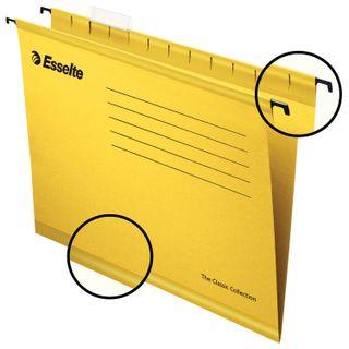 Hanging folder A4/Foolscap (400х240 mm), 300 sheets, SET of 25 PCs., yellow, cardboard ESSELTE