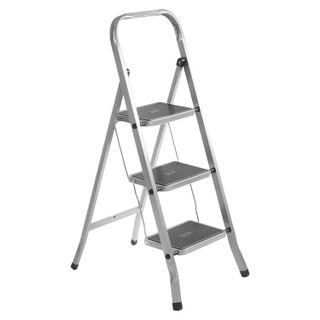 CLASS PLUS / Steel step ladder, 3 WIDE STEPS 20x30 cm, upper platform 69 cm, up to 120 kg