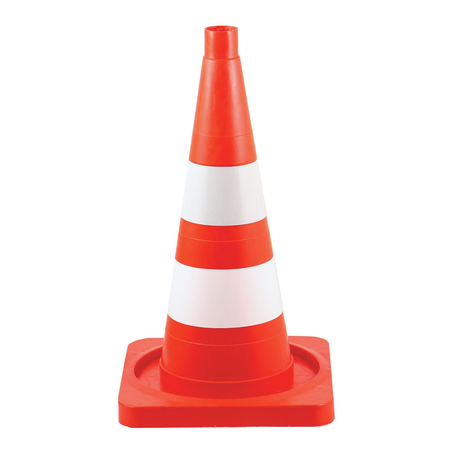 Road signal cone, soft, with white and reflective stripes, height 520 mm