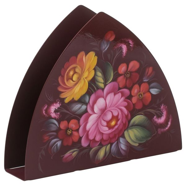 Zhostovo / Triangular napkin holder, author Klimova N. 16x13.5x4 cm