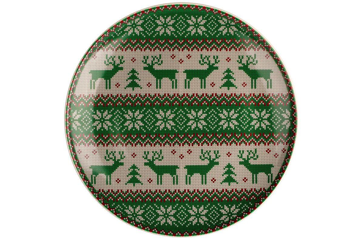 Dulevo porcelain / Plate 270 mm New Year (green) (Ceramics)