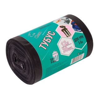 """CONCEPT OF HOUSEHOLD / Garbage bags 12 l """"Tubus"""", black, 30 pcs per roll, HDPE, 6 microns, 32x55 cm, for urns, d - 20, h - 26"""