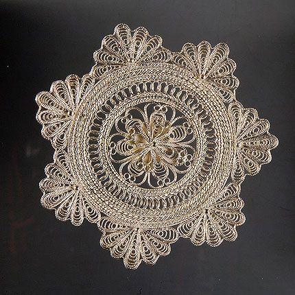 Plate 'Star' silver, Kazakovskaya Filigree