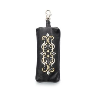 "Leather key holder ""Ornament"" in black with silver embroidery"