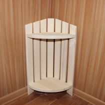 Corner shelf №2 wooden for a bath and a sauna