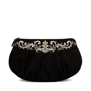 """Satin black cosmetic bag with zipper """"Fantasy"""" with silver pattern"""