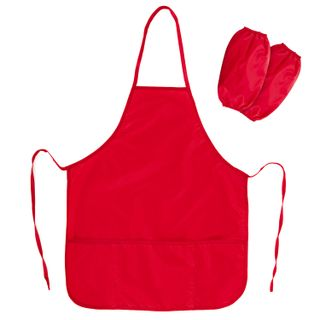 Apron with sleeves for lessons PYTHAGORAS, increased size, 45x60 cm, red
