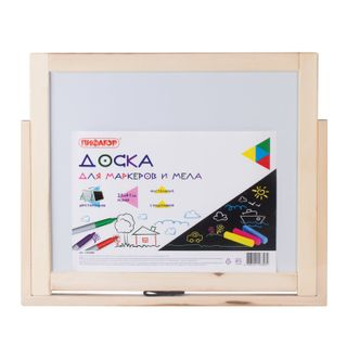 Double-sided Board for chalk and marker (35х41 cm), table, stand, black/white, PYTHAGORAS