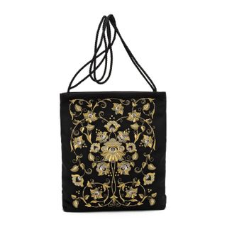 """Bag """"flora"""" in black with gold embroidery"""