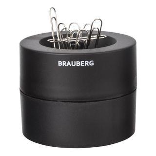 Screpanti magnetic BRAUBERG with 30 clips, a large barrel, black