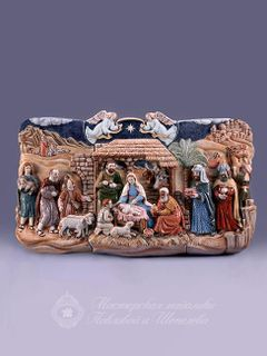 "Bas-relief ""Christmas"" is a majolica-style sculpture"