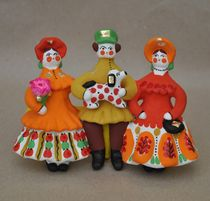 Dymkovo clay toy Cavalier with two ladies