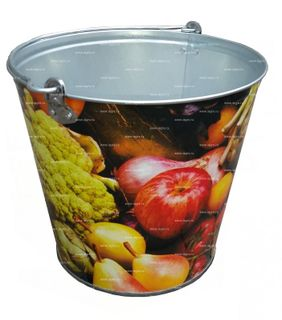 Bucket 5l galvanized decorative