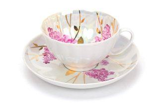 Dulevo porcelain / Tea cup and saucer set, 12 pcs., 275 ml White swan Pink lilac