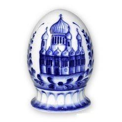 Egg gift Church relief 1st grade, Gzhel Porcelain factory
