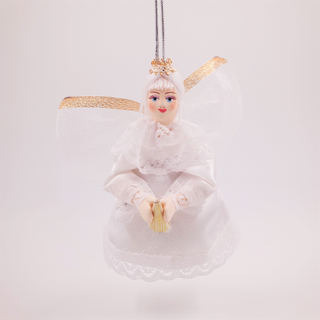 Christmas toy made of porcelain Flying angel with a trumpet, 11 cm