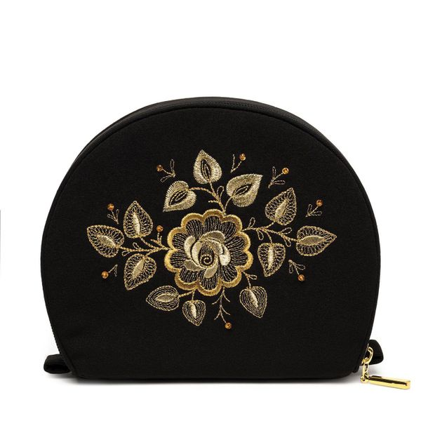 Cosmetic bag 'Wizard' black with a gold pattern flower