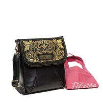Leather bag 'Isabelle' in black with gold embroidery