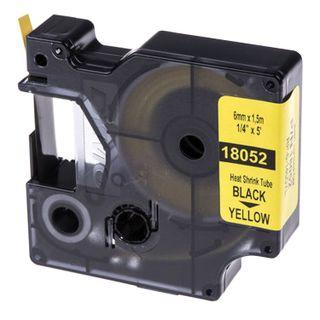 DYMO Rhino Label Printer Cartridge 6mm x 1.5m Heat Shrink Tube Black Font Yellow Tube
