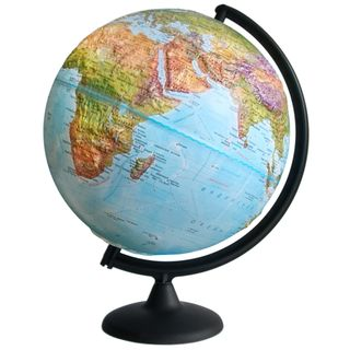 Geographical relief globe with a diameter of 300 mm