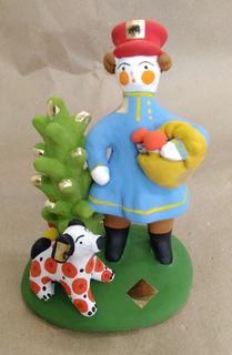 Dymkovo clay toy Mushroom with a dog