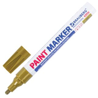 Marker-paint lacquer 4 mm, GOLD, NITRO-BASE, aluminum housing, BRAUBERG PROFESSIONAL PLUS