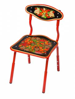 "Khokhloma painting / Wooden children's chair ""Druzhok"" black, 2 height category"