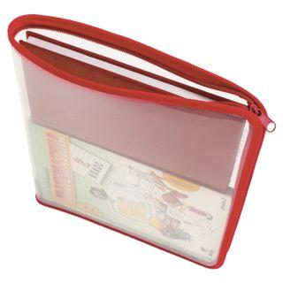 Folder for notebooks A4 PYTHAGORAS, plastic, lightning round, transparent, red