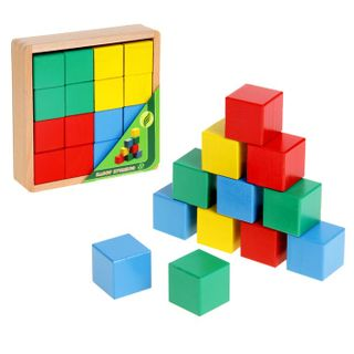 Cubes color - 16 parts in wooden box for children from 2 years