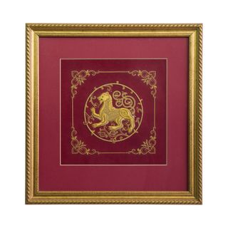 """Panels of hand-embroidered """"bars"""" Burgundy with gold embroidery"""