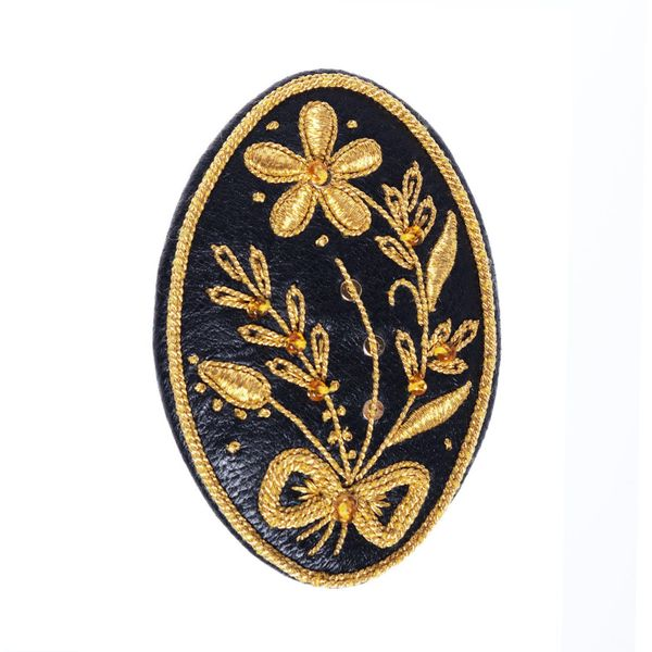 Brooch 'Spring' in black with gold embroidery