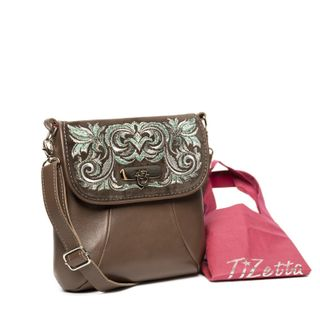 Leather bag Isabelle brown color with silver embroidery