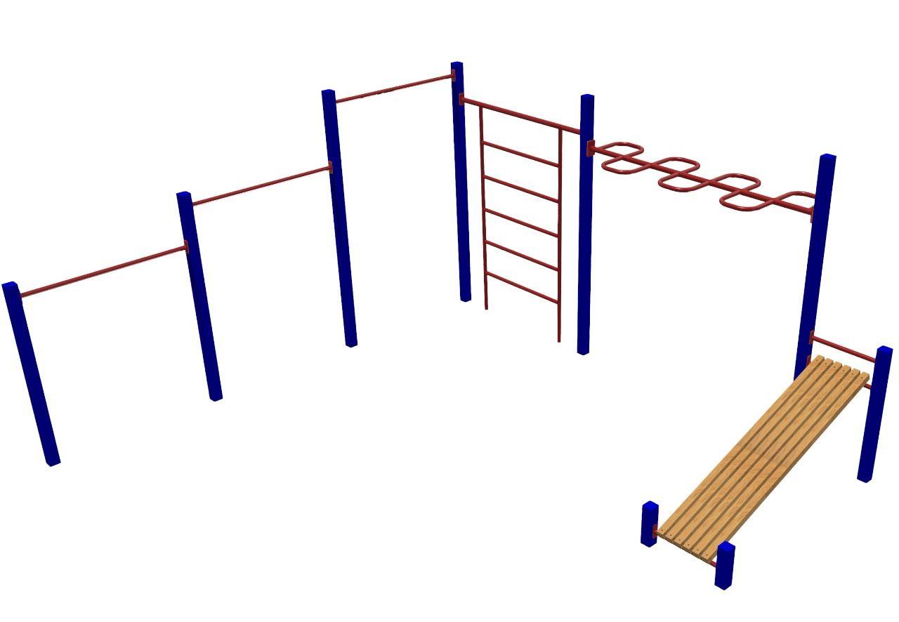 MB Barbell / Complex (horizontal bar 3-level, Swedish wall, snake handle, incline press bench)